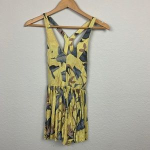 Kimchi blue antropologie romper floral XS yellow